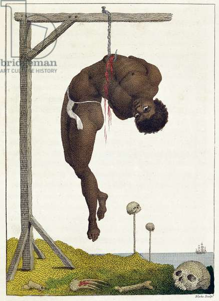 A Negro hung alive by the Ribs to a Gallows, from 'Narrative of a Five Years' Expedition against the Revolted Negroes of Surinam, in Guiana, on the Wild Coast of South America, from the year 1772, to 1777', engraved by William Blake (1757-1827), published 1796 (colour engraving)