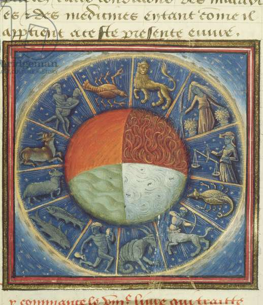 Ms Fr 135 Fol.285 The four elements of the Earth with the twelve signs of the zodiac, from 'Des Proprietez des Choses' by Barthelemy l'Anglais, 1445-50 (vellum)