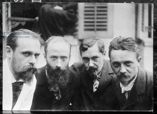 Ker Xavier Roussel (1867-1944) Edouard Vuillard (1968-1940) Romain Coolus (1868-1952) and Felix Vallotton (1865-1925) (from L. to R.) (b/w photo)