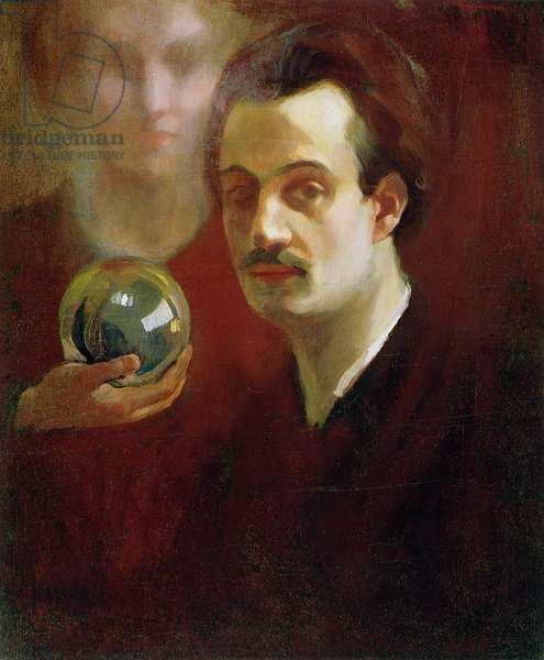 Self Portrait and Muse, 1911 (colour litho)