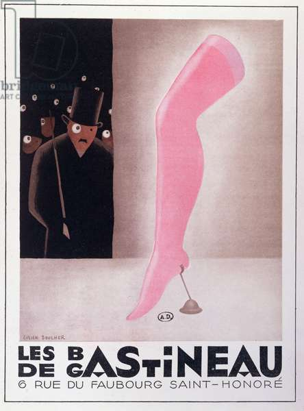 Advertisement for 'Gastineau' stockings, 1929 (colour litho)