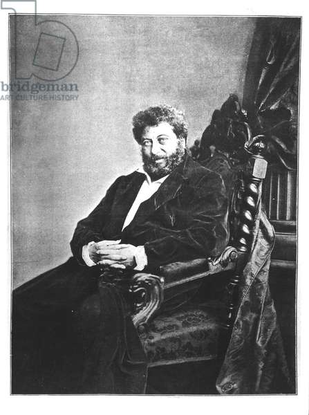 Portrait of Alexandre Dumas pere (1802-70) seated, 1855 from 'Les Annales', 4th September 1904 (b/w photo)