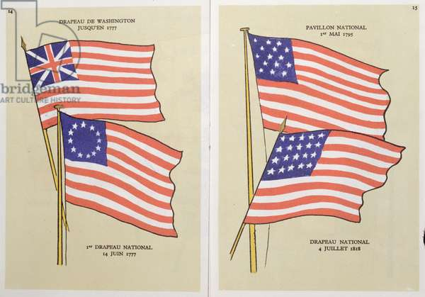 The evolution of the 'Stars and Stripes', illustration from a pamphlet on the American flag, c.1945-50 (colour lithograph)