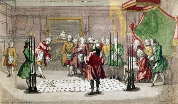 Masonic Ceremony in France (colour engraving)