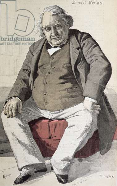 Portrait of Ernest Renan (1823-92), from 'La Revue Illustree', engraved by Florian, 15th July 1887 (colour engraving)