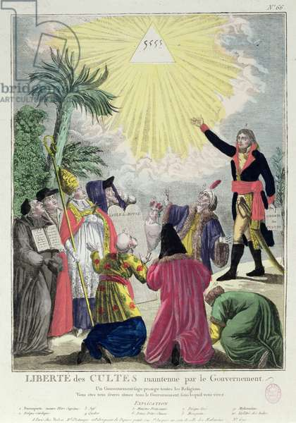 Allegory of the Concordat between Napoleon Bonaparte (1769-1821) and Pope Pius VII (1742-1823) 1801 (coloured engraving) (see also 175951)