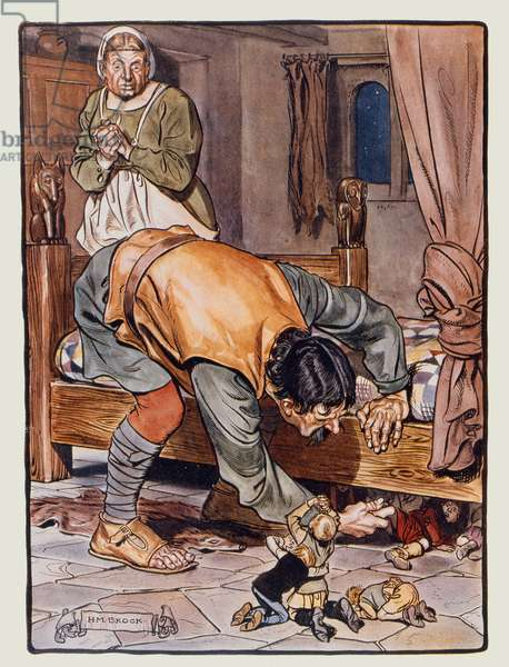 The Ogre, watched by his wife, searches for Tom Thumb and his brothers, illustration for an English edition of Perrault's Contes, 'The Book of Fairy Tales', published in London, early 20th century (colour litho)