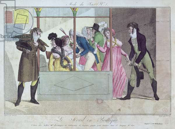 Prostitutes at the Palais-Royal, from Mode du Jour, engraved by Fortier, early 19th century (hand-coloured engraving)