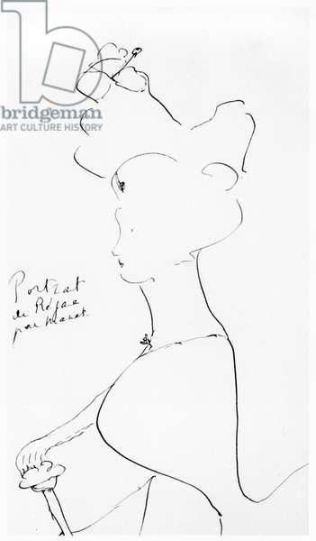 Rejane (1857-1920) (pen & ink on paper) (b/w photo)