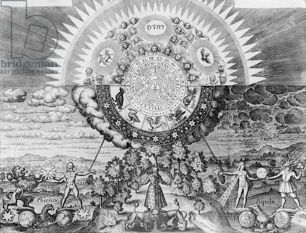 Analogy of the Microcosm and Macrocosm of Alchemy, from 'Basilica Philosophica', by Johann Daniel Mylius, 1620 (engraving)