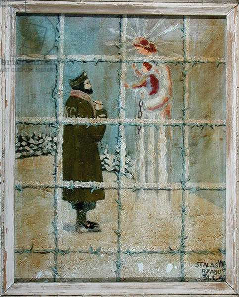Apparition of Our Lady of Loretto to a prisoner in a Stalag, 31st January 1942 (oil on wood or canvas)
