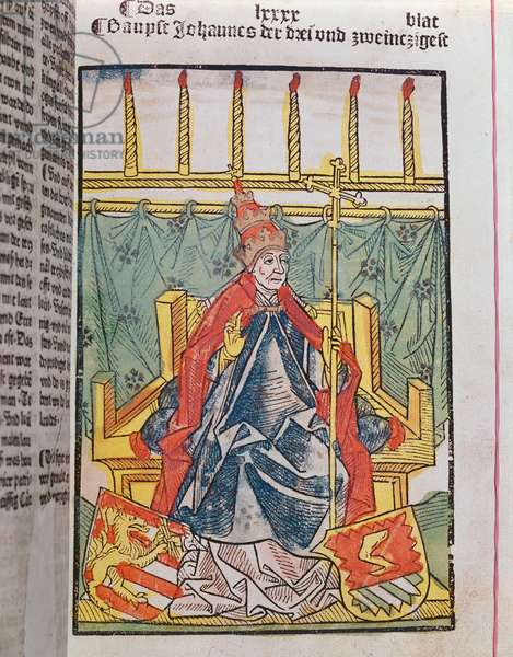 The Antipope John XXIII (c.1370-1419) at the Council of Constance (1414-18), 1483 (coloured wood engraving)