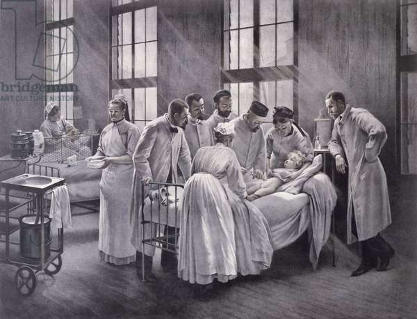 The Croup Cured by Doctor Roux, engraved by E. Buval (colour litho)