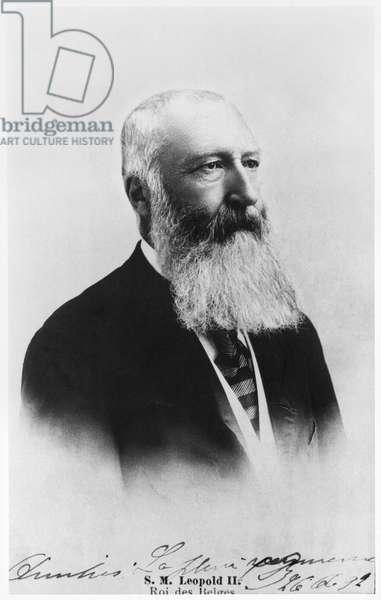 Portrait of Leopold II (1835-1909) King of Belgium (b/w photo)