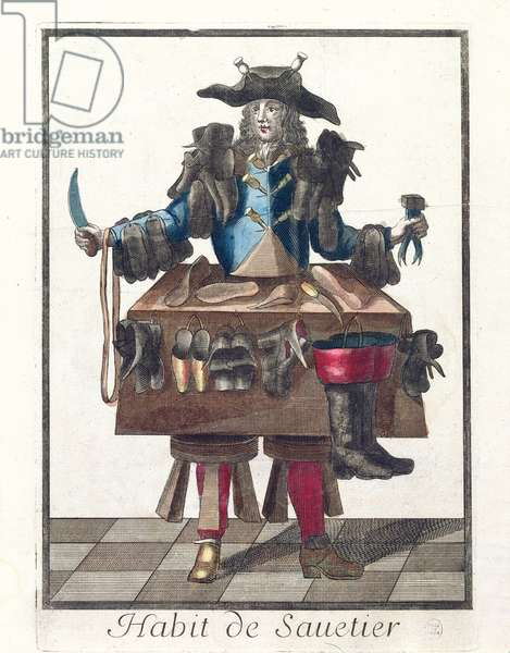 The Cobbler, an allegorical costume design, after an image engraved by one of the Larmessin family, c.1640-84 (coloured engraving)