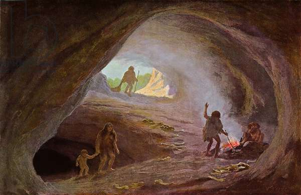 Cavemen during the Ice Age, after a sketch by Professor Klaatsch, late 19th century (colour litho)