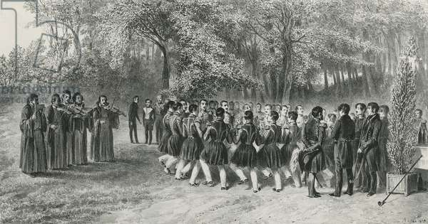 Wallachian Round, performed by the Tsiganes and danced by the Second Regiment musicians at the home of Prince Ghika, Ghospodar, Wallachia, 1839 (litho)