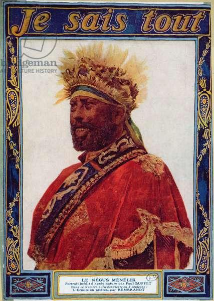 Portrait of the Negus of Ethiopia, Menelik II (1844-1913), illustration from 'Je Sais Tout' magazine, c.1900 (colour litho)