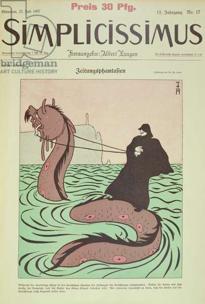 Kaiser rides the Sea Snake to England, cover Illustration from Simplicissimus, 1907 (colour litho)