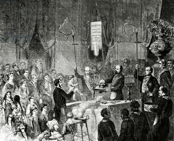 A Masonic baptism in the Lodge of Fraternal Friendship, Grand Orient de France, Paris, 1861 (engraving)