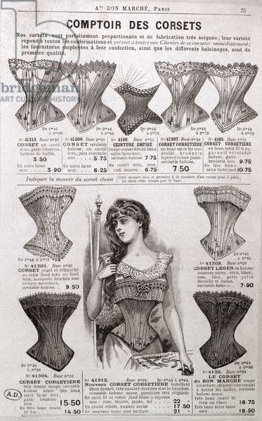 Advertisement for corsets and undergarments, from the 'Bon Marche' department store, Paris, c.1900 (engraving) (b/w photo)