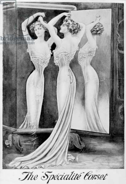 Advertisement for the 'Specialite' corset, c.1900 (litho) (b/w photo)