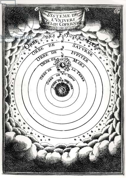 The Copernican System, from 'Description de l'Univers' by Alain Manesson Mallet (1630-1706) 1683 (engraving) (b/w photo)