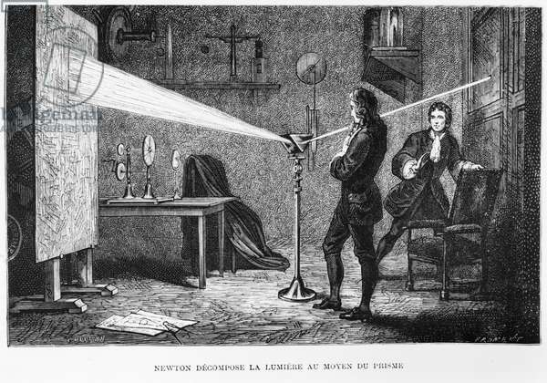 Sir Isaac Newton (1642-1727) breaking up the light through a prism, illustration from 'La Vie des Savants Illustres' by Louis Figuier, 1868 (engraving) (b/w photo)