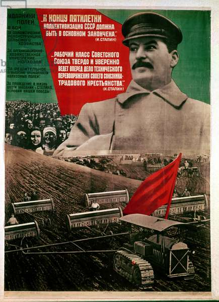 Poster concerning the 1st 5 Year Plan with a photograph of Joseph Stalin 1879-1953), 'At the end of the Plan, the basis of collectivisation must be completed', 1932 (colour litho)