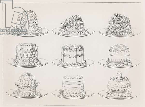 Designs for tarts and cakes by Antoine Careme (engraving)