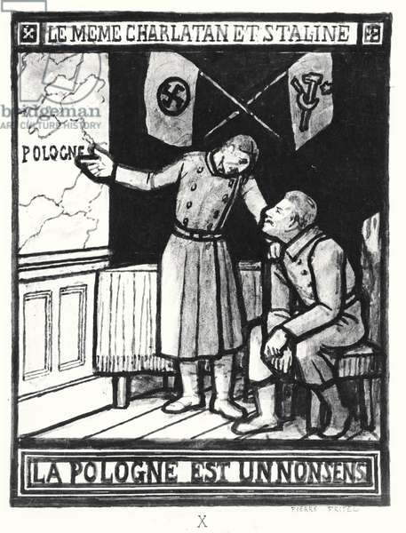 'Poland is a Nonsense', caricature about the Molotov-Ribbentrop Pact, signed 23rd August 1939 (engraving) (b/w photo)