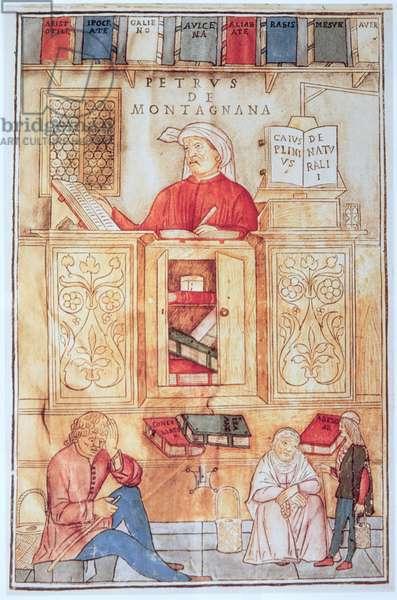 Petrus de Montagnana, illustration from 'Fasciculus Medicinae' by Jean de Ketham, published in Venice 1495 (coloured woodcut)