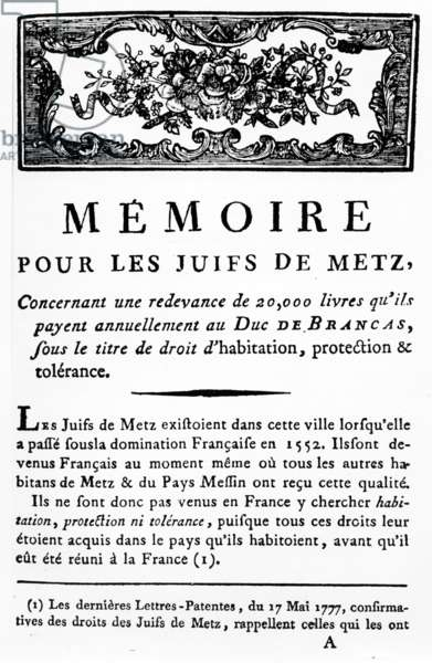 Manifesto in Support of the Jews of Metz supporting the removal of the tax payable by Jews to the Duke of Brancas, c.1790 (printed paper)