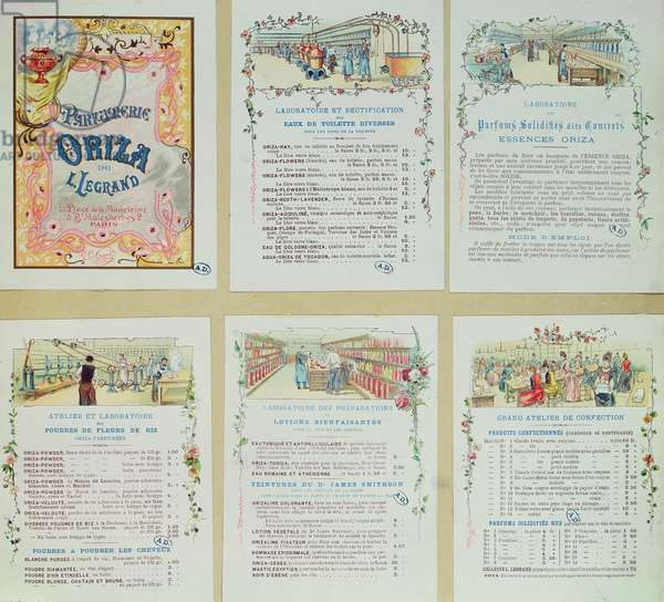 Six pages from catalogue for the 'Parfumerie Oriza de L. Legrand' illustrating the perfume making process, c.1900 (colour litho)