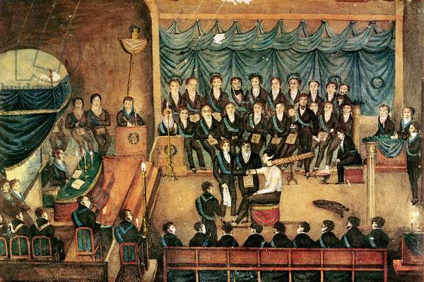 Masonic Initiation ceremony of a male Freemason, early 19th century (w/c on paper)