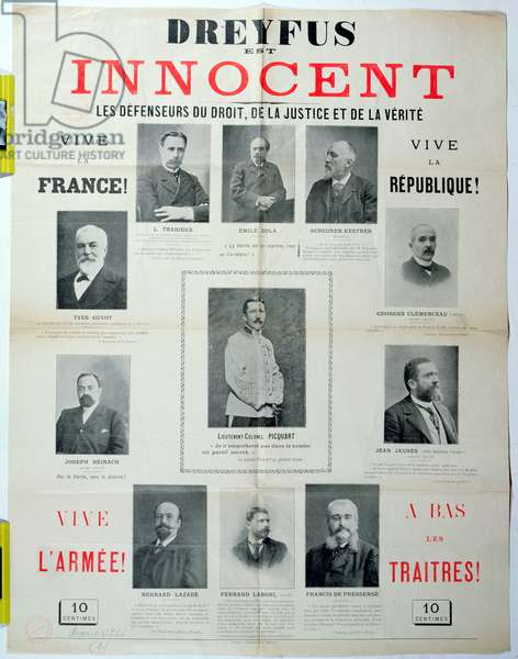 'Dreyfus est Innocent', poster with the portraits of his defenders, late 19th century (colour litho)