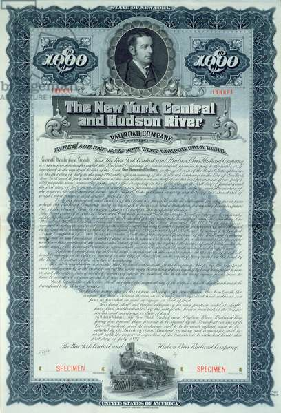 Specimen bond certificate for 1000 dollars for the New York Central and Hudson River Railroad Company, c.1900 (colour litho)