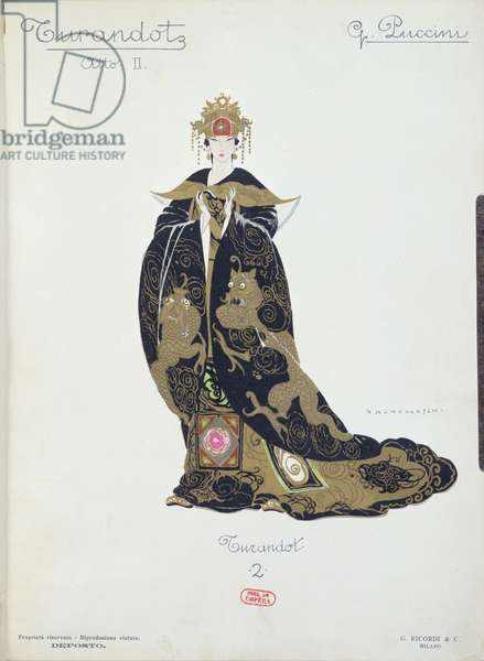 Costume design for the opera 'Turandot' by Puccini, 1924 (colour litho)