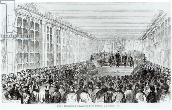 Inauguration of the Ecole Normale Superieure in Paris, from 'Les Tableaux de Paris' by Texier, 1852 (engraving) (b/w photo)