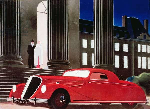 Advertisement for a Renault de Luxe, 1936 (colour litho)