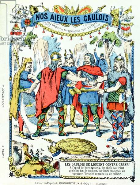 The Gaulish leaders in league against Julius Caesar (100-44 BC) led by Vercingetorix (d.46 BC) from a protective sleeve for school books, late 19th century (colour litho)