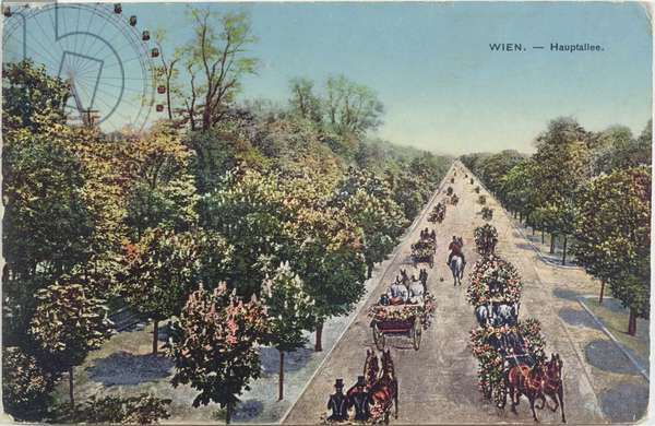 Postcard depicting the Hauptallee, the main avenue in Vienna, end of 19th century (colour litho)