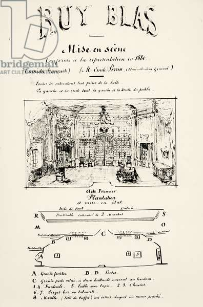 Theatre programme for Act I of 'Ruy Blas' (1838) by Victor Hugo (1802-85), 1880 (pen & ink on paper) (b/w photo)