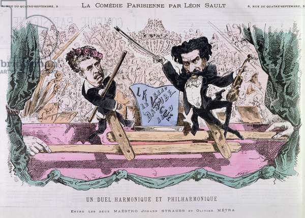 The Rival Composers of Waltzes, Johann Strauss the Younger (1825-99) and Olivier Metra (1830-89), c.1870 (colour litho)