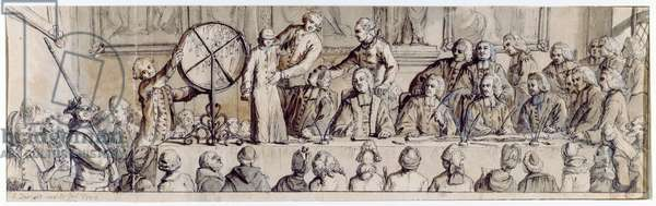 Drawing the lottery at the Hotel de Ville, 1772 (pen, ink and wash)