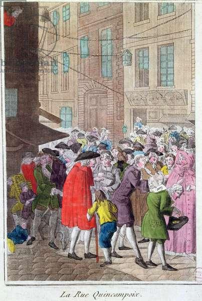La Rue Quincampoix, The Law Affair, c.1797 (coloured engraving)