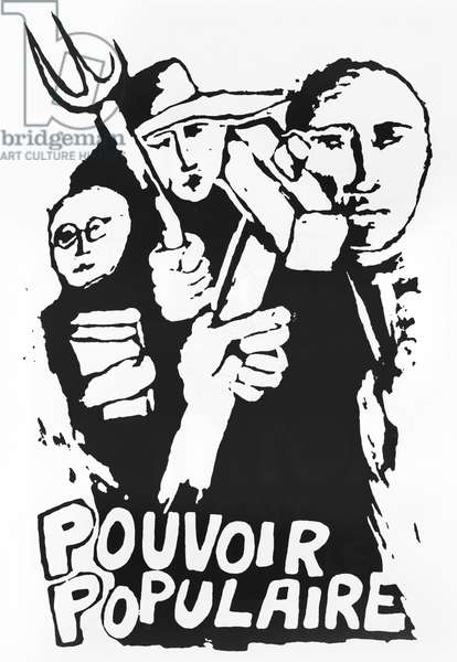 'Power to the People', street poster of the student revolt, Paris, May 1968 (silkscreen) (b/w photo)