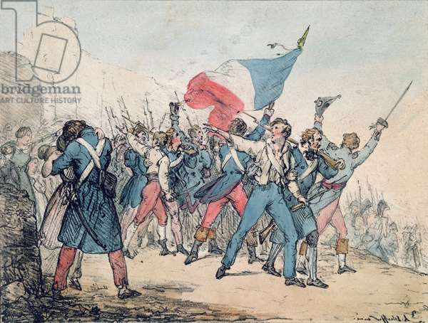Allegory of the 1830 Revolution and the Marseillaise, engraved by the Gihaut brothers, 1830 (colour litho)