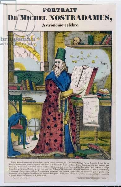 Michel Nostradame (Nostradamus) (1502-66) c.1840 (coloured engraving)