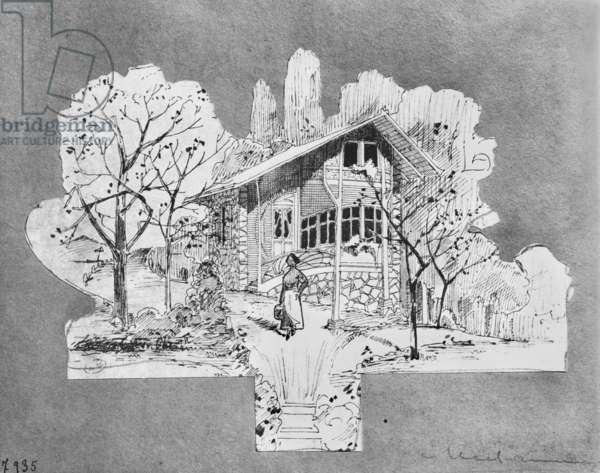 Project for a villa, La Maisonnette (pen & ink on paper) (b/w photo)